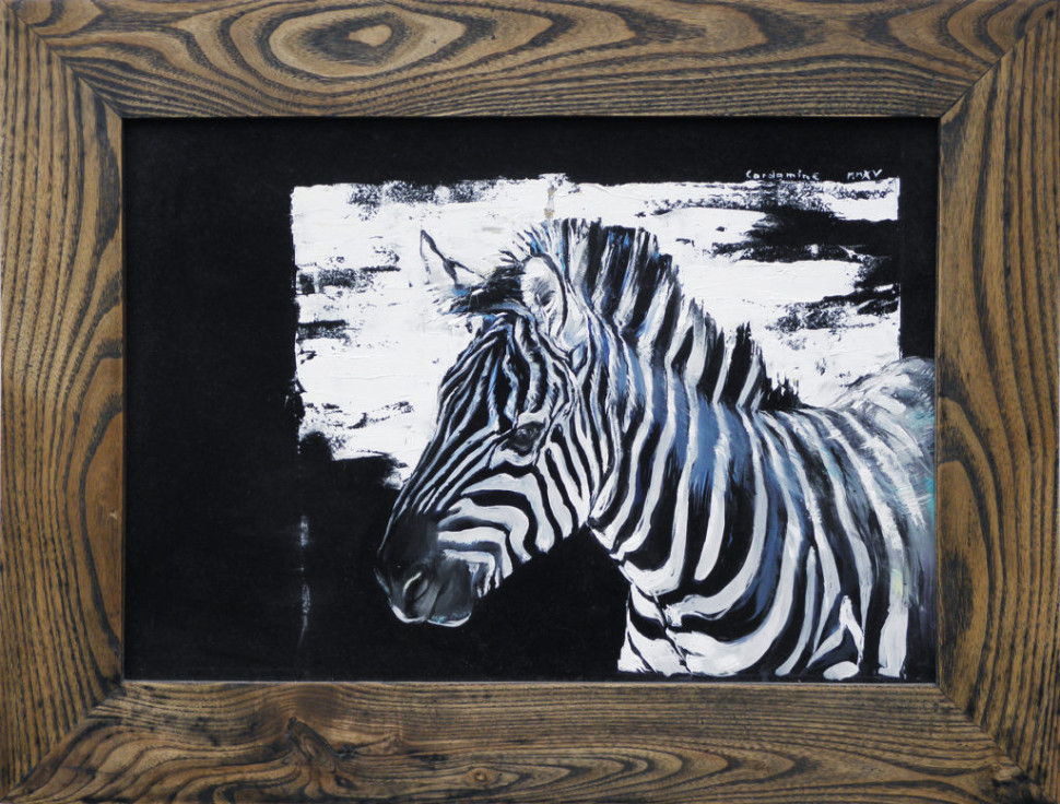 Painting Portrait of Zebra by Jan Rericha Cardamine
